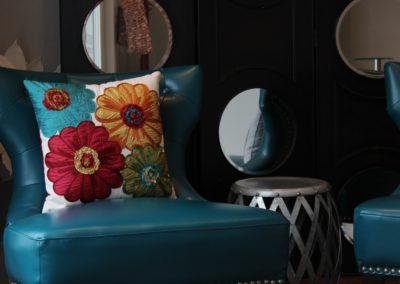 Studio accented with turquoise